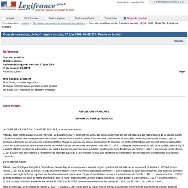 Cour de cassation, civile, Chambre sociale, 17 juin 2009, 08-40.274, Publié au bulletin
