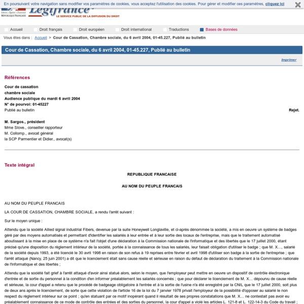 Cour de Cassation, Chambre sociale, du 6 avril 2004, 01-45.227, Publié au bulletin
