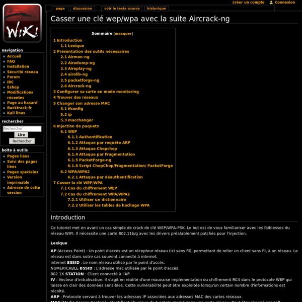 Casser une clé wep/wpa avec la suite Aircrack-ng