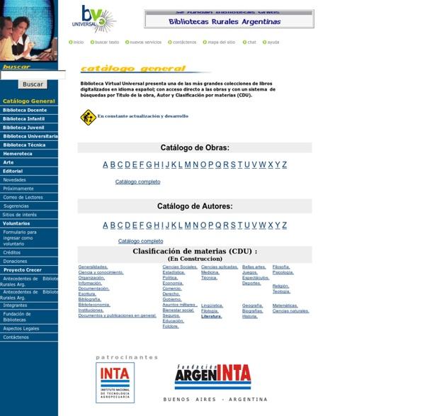 Catalogo de textos de la Biblioteca Virtual Universal