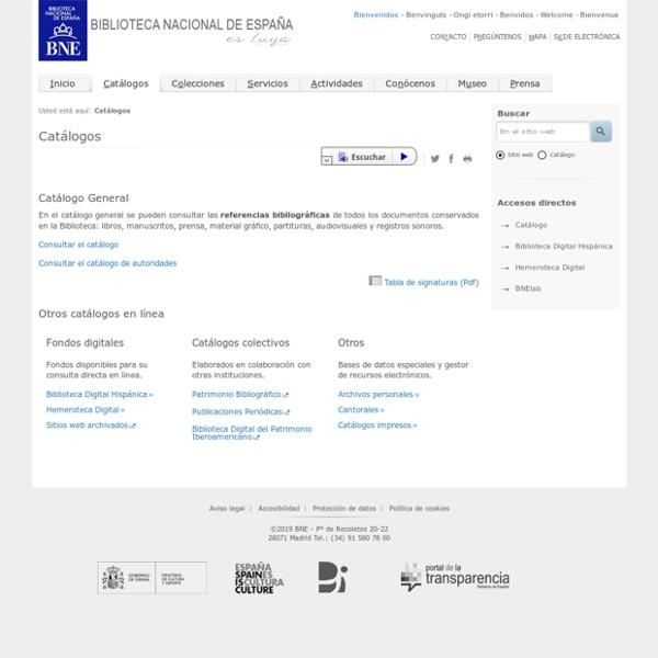 Catálogos. Biblioteca Nacional de España