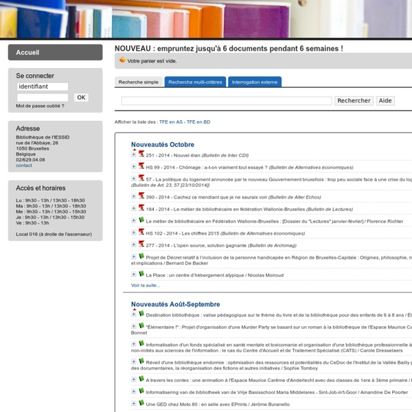Catalogue en ligne Bibliothèque de l'IESSID.