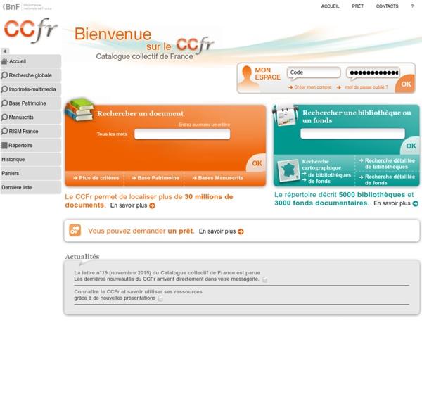 CCFr - Catalogue Collectif de France
