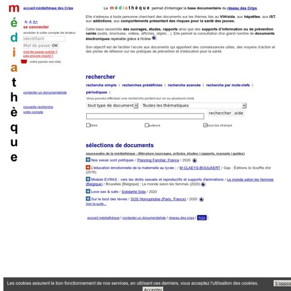 Catalogue en ligne médiathèque des Crips