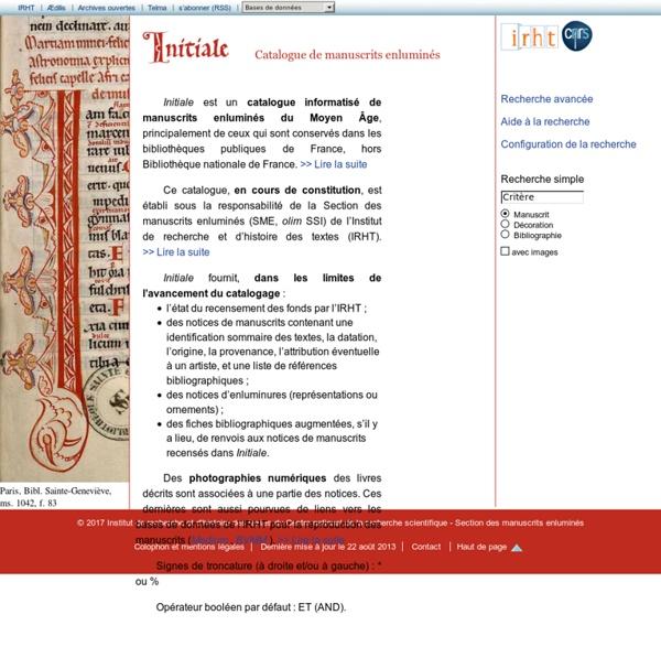 Initiale - Catalogue de manuscrits enluminés - IRHT