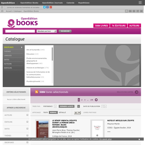 Catalogue - OpenEdition Books
