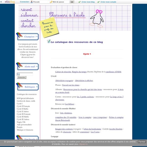 Le catalogue des ressources de ce blog