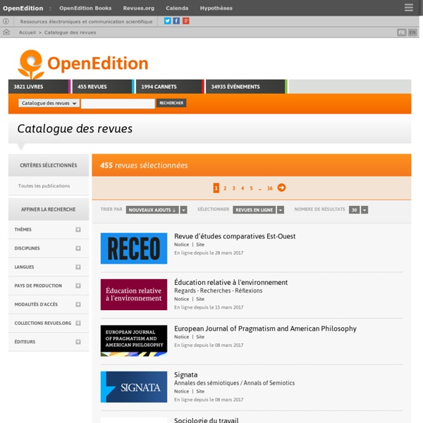 OpenEdition - revues