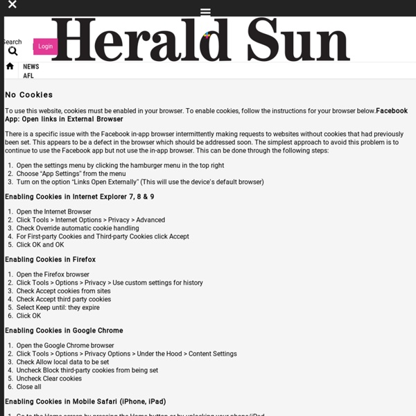 Herald Sun article Copy and paste the link to a new tab to go to the article: https://goo.gl/EBkC0p