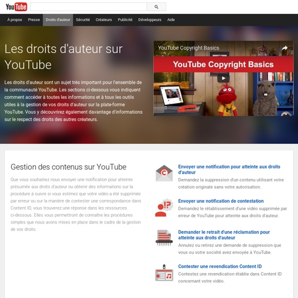Centre YouTube relatif aux droits d'auteur – YouTube
