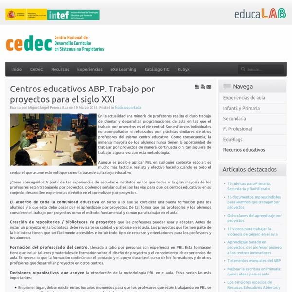 Centros educativos PBL. Trabajo por proyectos para el siglo XXI