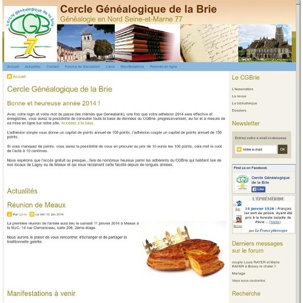 Cercle Généalogique de la Brie - Cercle Généalogique de la Brie