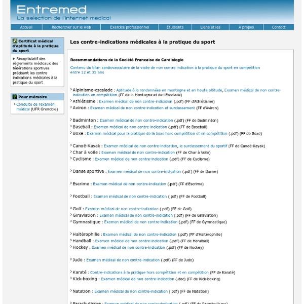 Le certificat médical d'aptitude au sport , les contre indications médicales à la pratique sportive