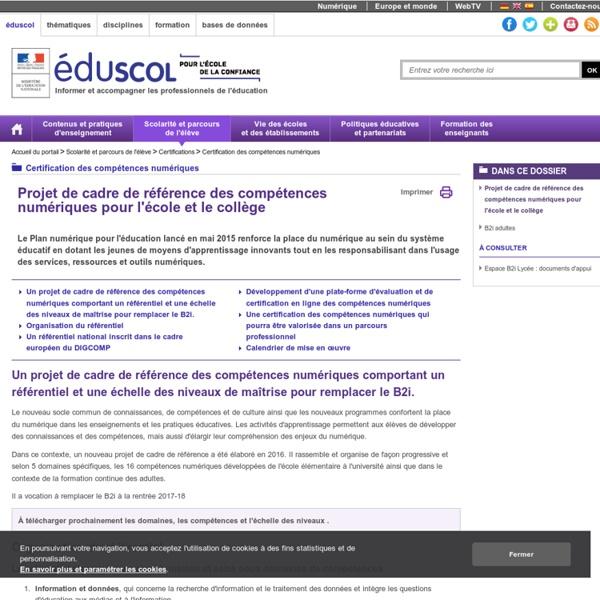Projet de cadre de référence des compétences numériques (école et collège)