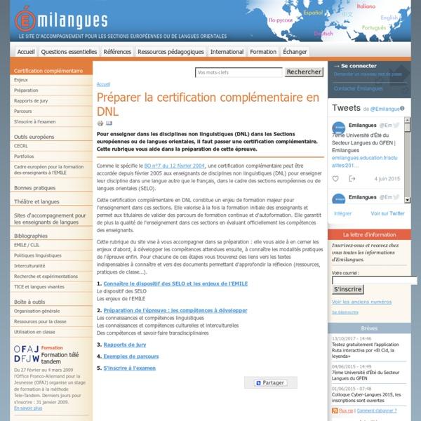 Préparer la certification complémentaire en DNL