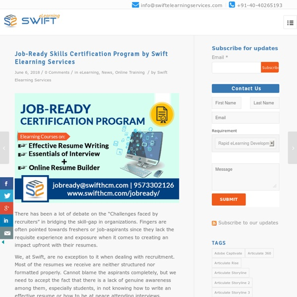 Job-Ready Skills Certification Program by Swift Elearning Services