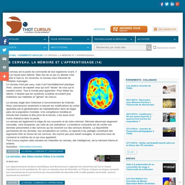 Le cerveau, la mémoire et l'apprentissage
