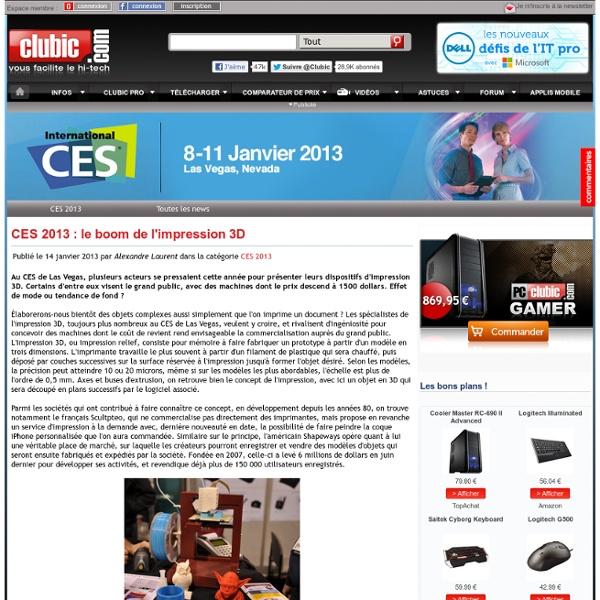 CES 2013 : le boom de l'impression 3D