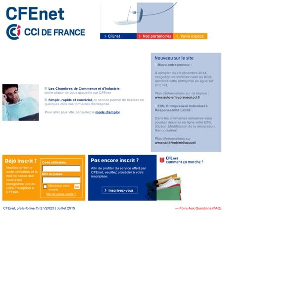 CFEnet, le Centre de Formalités des Entreprises sur le net