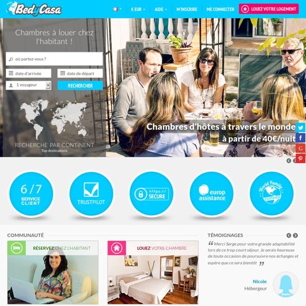Chambre à louer chez l'habitant, chambre d'hôtes et Bed and Breakfast au niveau mondial
