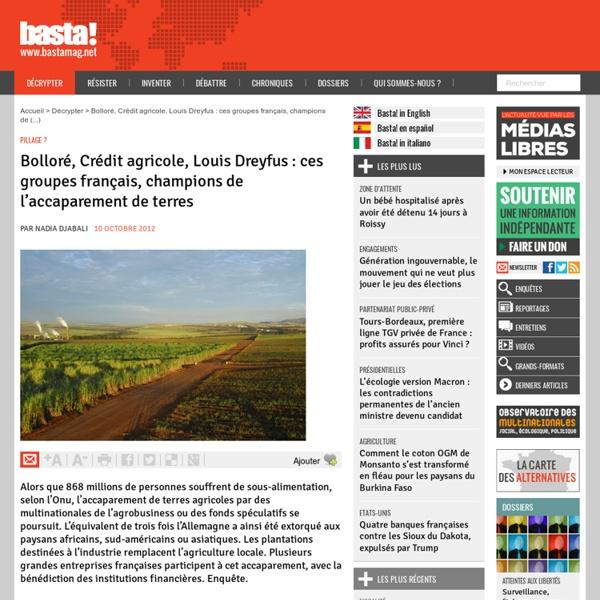 Bolloré, Crédit agricole, Louis Dreyfus : ces groupes français, champions de l'accaparement de terres - Pillage ?