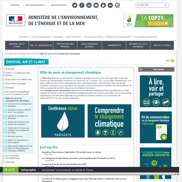 Effet de serre et changement climatique - Ministère de l'Environnement, de l'Energie et de la Mer