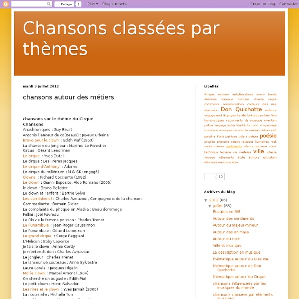 Chansons classées par thèmes: chansons autour des métiers