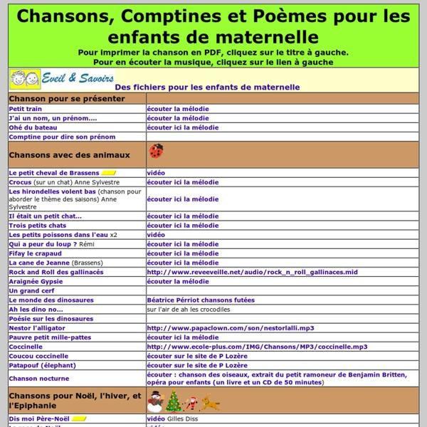 Top Chansons, comptines et poésie pour l'école maternelle | Pearltrees BI71