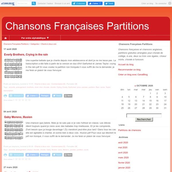 Chants à deux voix - Chansons Françaises Partitions