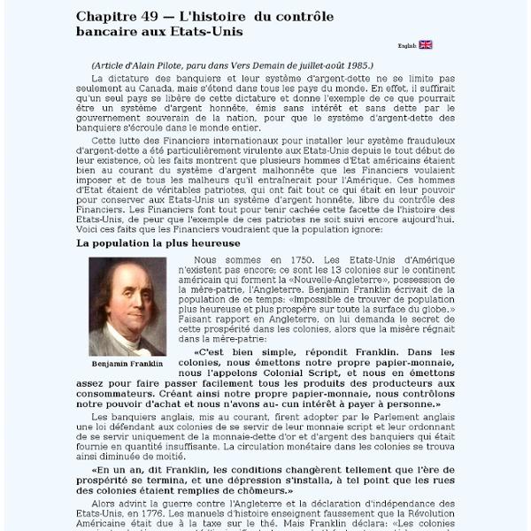 Chapitre 49 — L'histoire du contrôle bancaire aux Etats-Unis