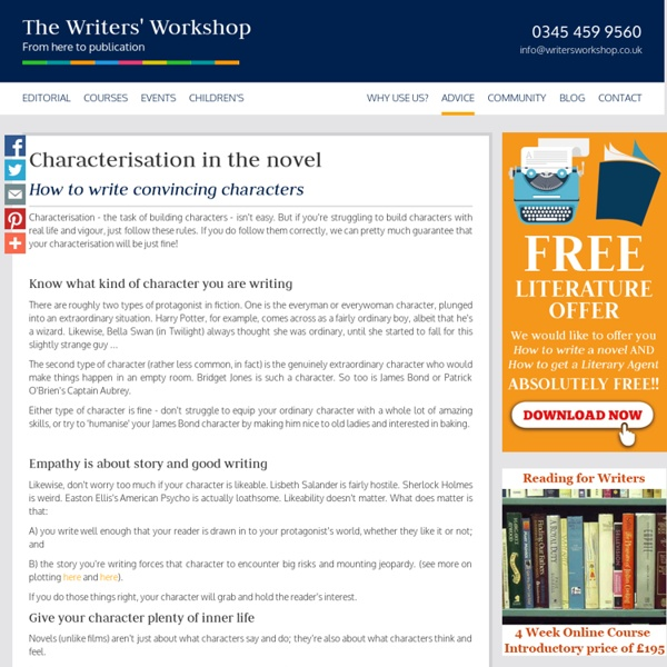 Character and Characterisation in the Novel