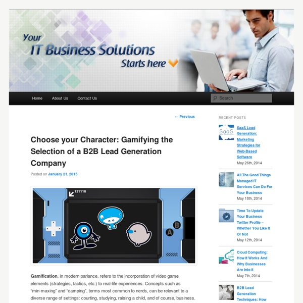 Choose your Character: Gamifying the Selection of a B2B Lead Generation Company