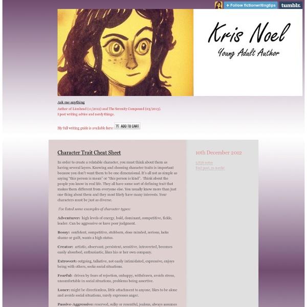 Character Trait Cheat Sheet - Kris Noel