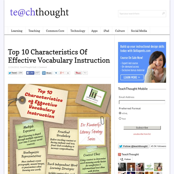 Top 10 Characteristics Of Effective Vocabulary Instruction Pearltrees