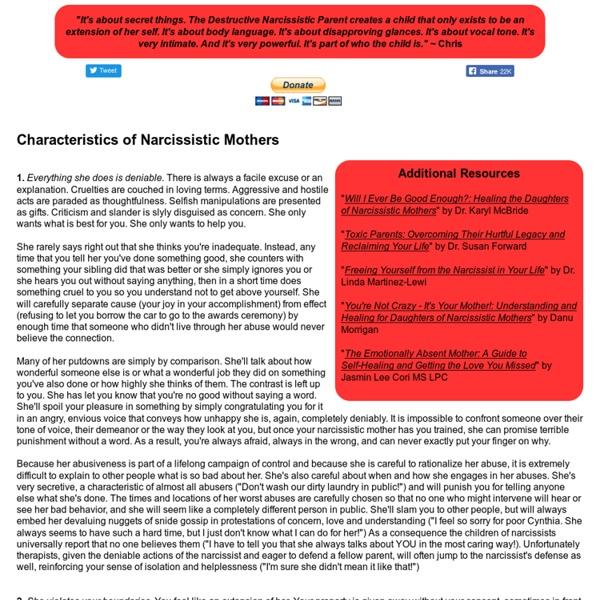 Characteristics of Narcissistic Mothers
