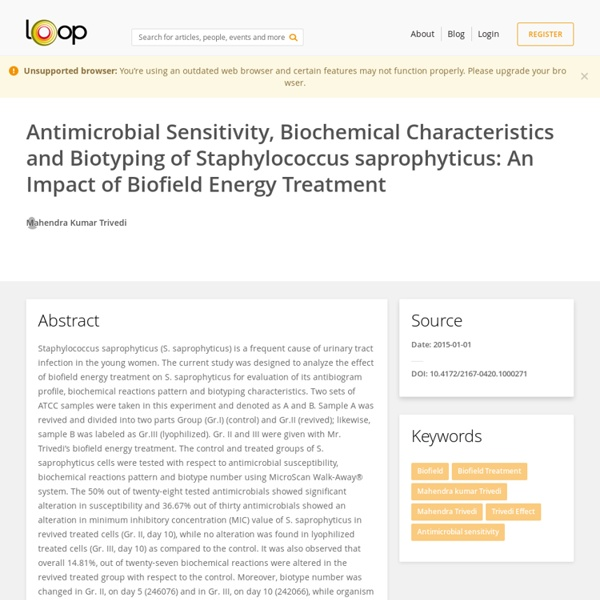 Biofield Treatment of Staphylococcus Saprophyticus & Biochemical Study