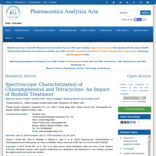 Biofield Treatment's Effect on Chloramphenicol and Tetracycline