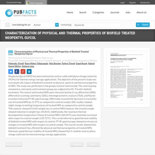 Characterization of Biofield Energy Treated Neopentyl Glycol
