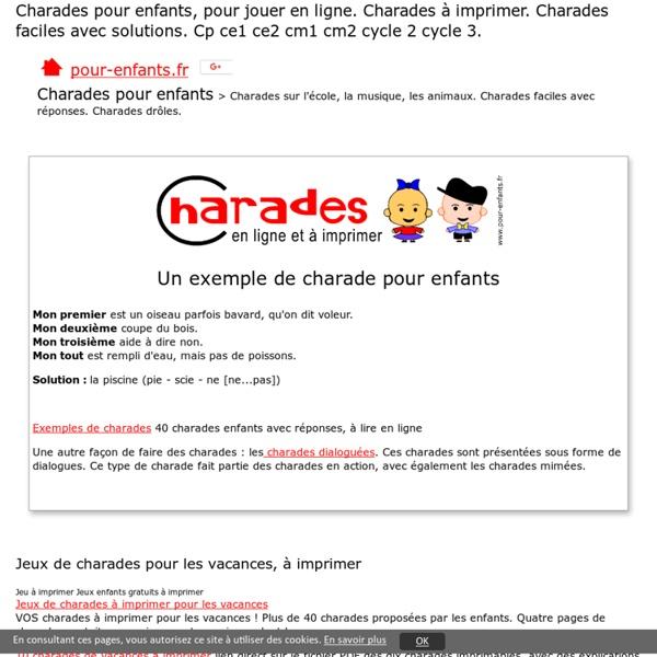 Charades pour enfants faciles Jeux charade Noël Halloween Pâques jouer en ligne jeu de charades noel epiphanie imprimer cp ce1 ce2 cm1 cm2 fle
