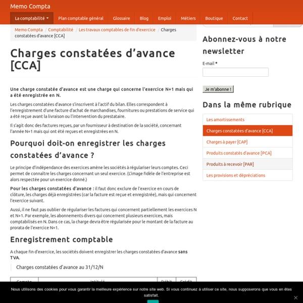 Charges constatées d'avance [CCA]