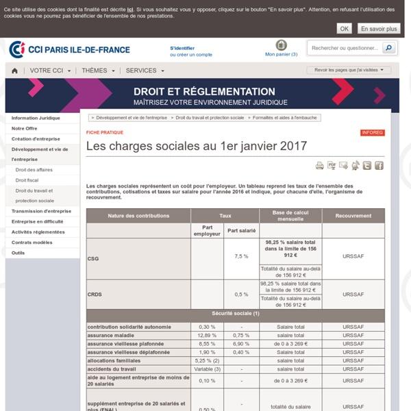 Charges et cotisations sociales au 1er janvier 2017