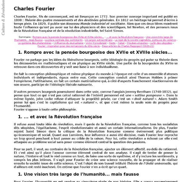 Charles Fourier - Culture & Révolution