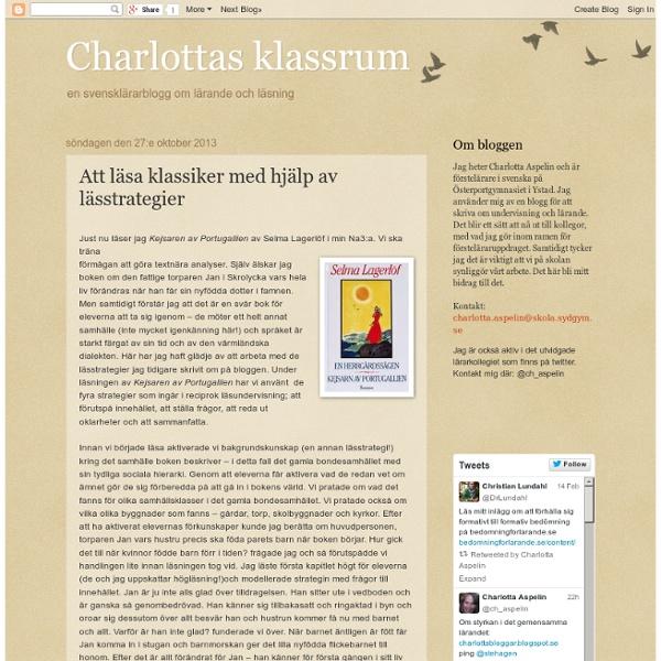 Charlottas klassrum: Att läsa klassiker med hjälp av lässtrategier