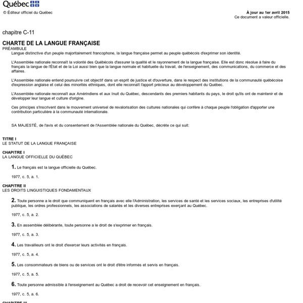 Charte de la langue fran?aise