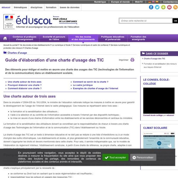 Chartes d'usage - Charte d'usage des TIC