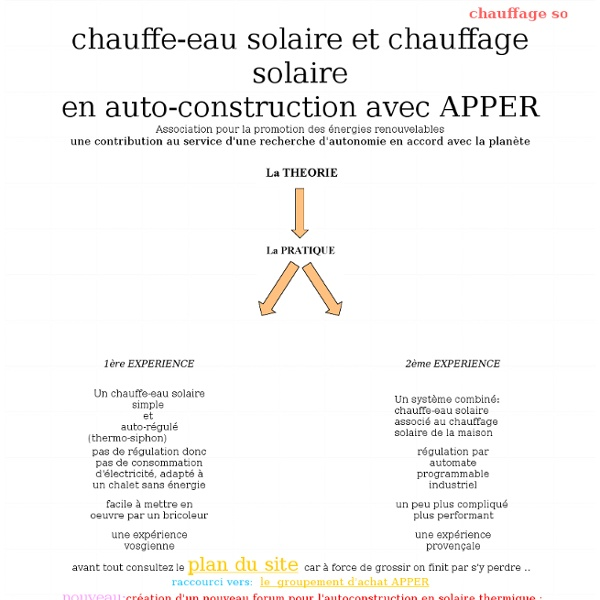 Chauffage solaire et chauffe-eau solaire en auto-construction