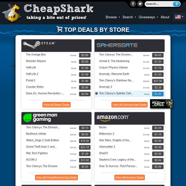 CheapShark - Digital Game Deals, Compare PC game prices on Steam, Amazon, Gamer's Gate, and more!