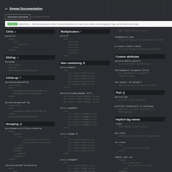 Cheat Sheet (html tool)