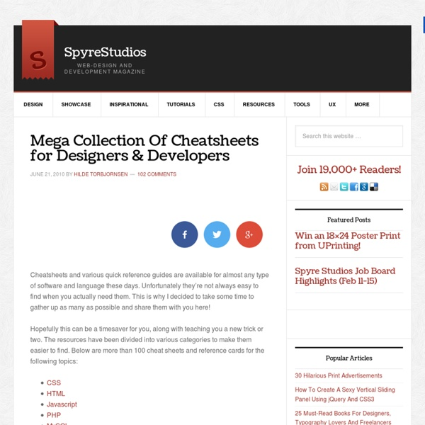 Mega Collection Of Cheatsheets for Designers And Developers