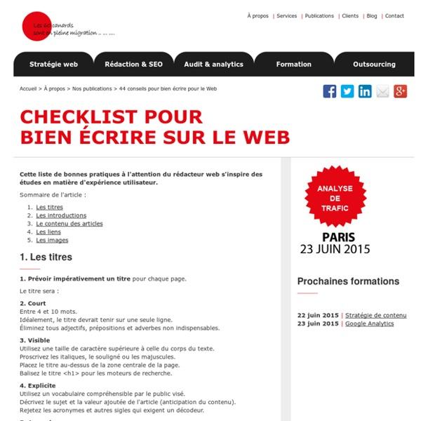 Ecrire pour le Web - Rédiger pour le Web
